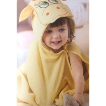Hooded towel children ANIMALS - yellow