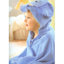 Hooded towel children ANIMALS - blue