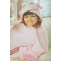 Hooded towel children ANIMALS - pink
