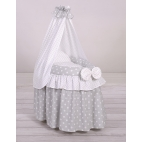 Wicker cribs for doll with drape