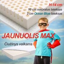 Latekso čiužinys vaikams JAUNUOLIS MAX, h-14 cm (lateksas, Blue Ocean lateksas)